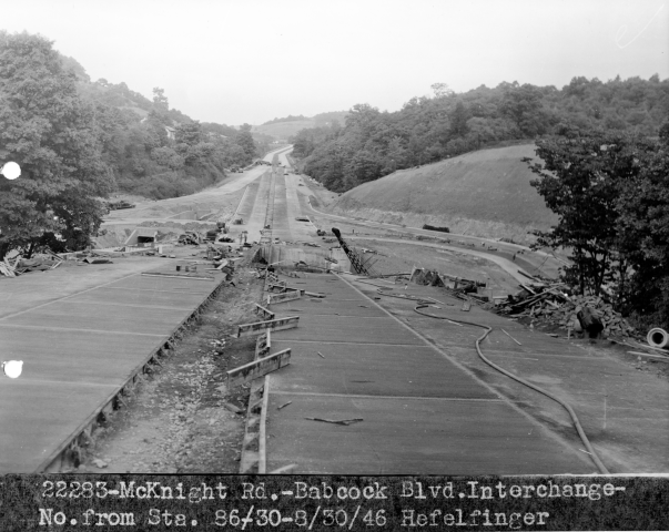 McKnight Road facing north at Babcock Blvd in southern Ross Twp, 1946