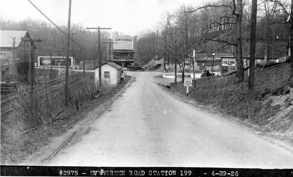 Evergreen Road loking towards intersection with Babcock Blvd and Three Degree Road, taken April 29, 1926