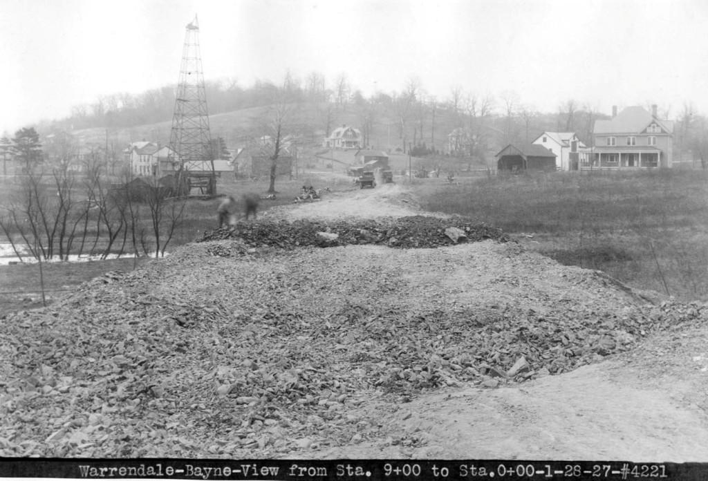 Warrendale-Bayne Road showing Oil Derrick, taken January 28, 1927